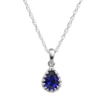 Tiara Sterling Silver Lab-Created Sapphire Teardrop Pendant