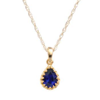 Tiara 14k Gold Over Silver Lab-Created Sapphire Teardrop Pendant