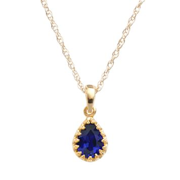 Tiara 14k Gold Over Silver Lab-Created Sapphire Teardrop Pendant