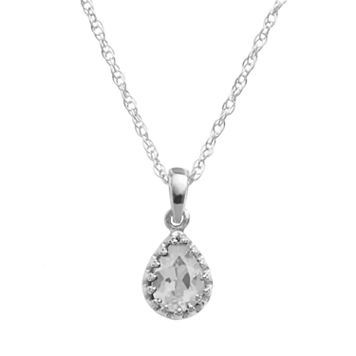 Tiara Sterling Silver Lab-Created White Sapphire Teardrop Pendant