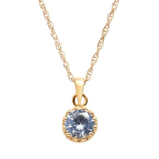 Tiara 14k Gold Over Silver Lab-Created Aquamarine Crown Pendant