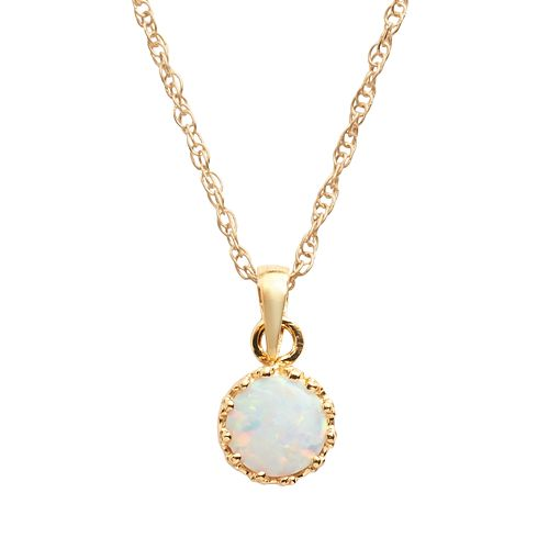 Tiara 14k Gold Over Silver Lab-Created Opal Crown Pendant