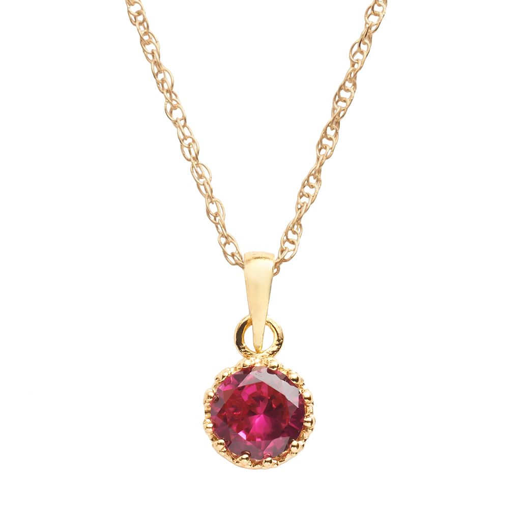 Tiara 14k Gold Over Silver Lab-Created Ruby Crown Pendant