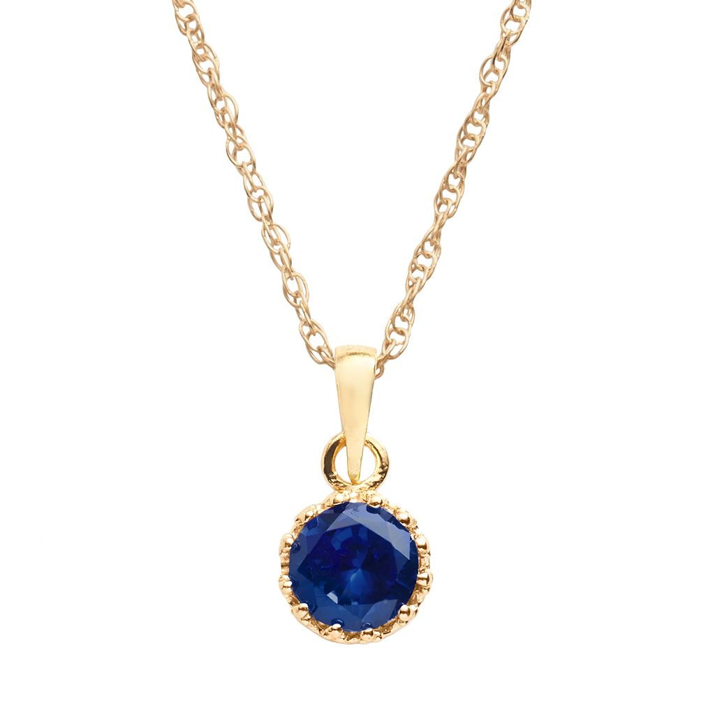 Tiara 14k Gold Over Silver Lab-Created Sapphire Crown Pendant