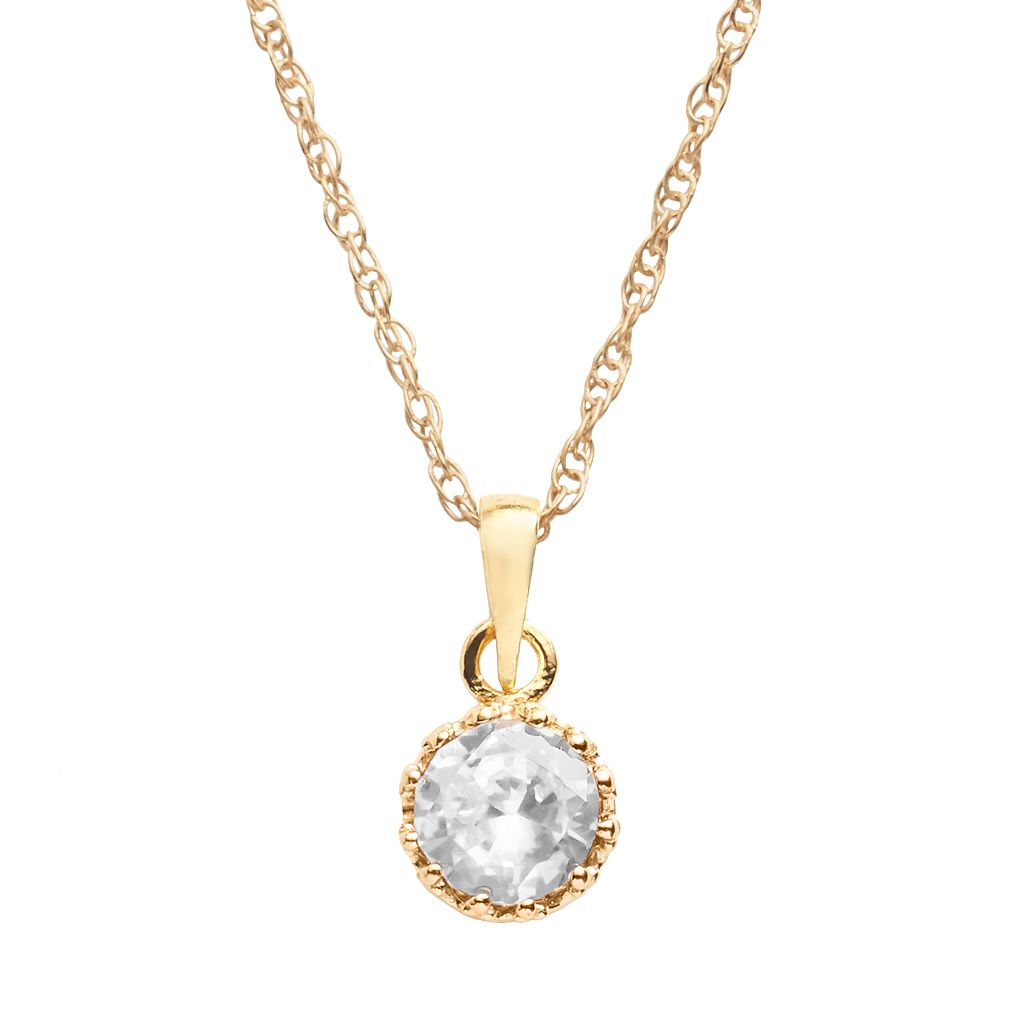 Tiara 14k Gold Over Silver Lab-Created White Sapphire Crown Pendant