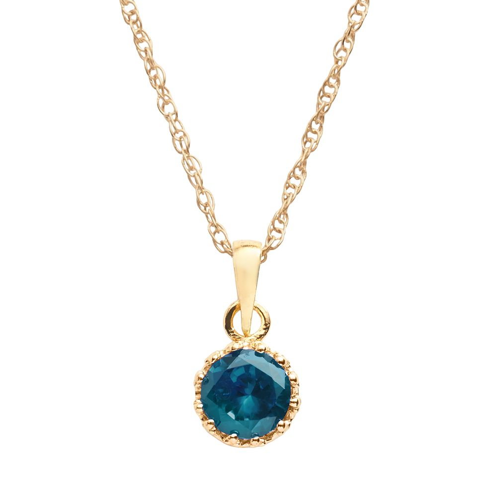 Tiara 14k Gold Over Silver London Blue Topaz Crown Pendant