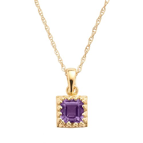 Tiara 14k Gold Over Silver Amethyst Pendant