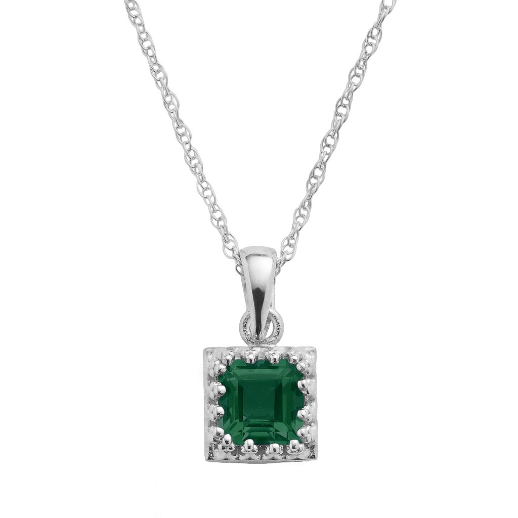 Tiara Sterling Silver Lab-Created Emerald Square Pendant