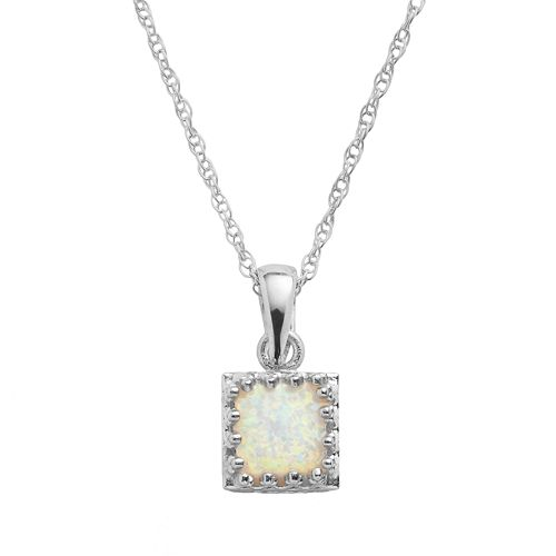 Tiara Sterling Silver Lab-Created Opal Square Pendant