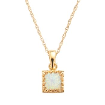 Tiara 14k Gold Over Silver Lab-Created Opal Pendant