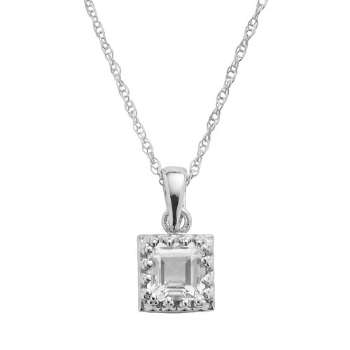 Tiara Sterling Silver Lab-Created White Sapphire Square Pendant