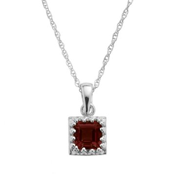 Tiara Sterling Silver Garnet Square Pendant
