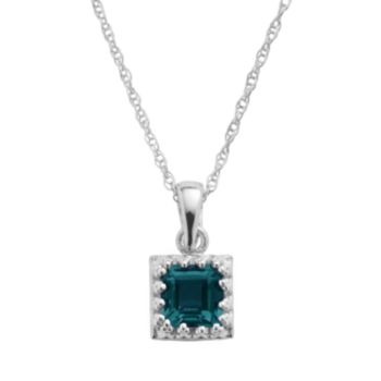 Tiara Sterling Silver London Blue Topaz Square Pendant