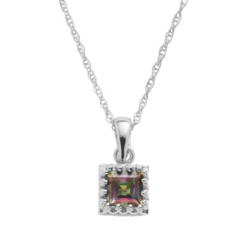 Tiara Sterling Silver Rainbow Quartz Square Pendant