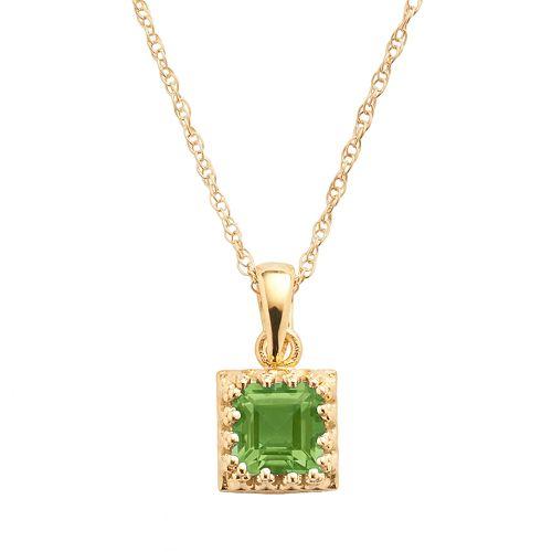 Tiara 14k Gold Over Silver Peridot Pendant