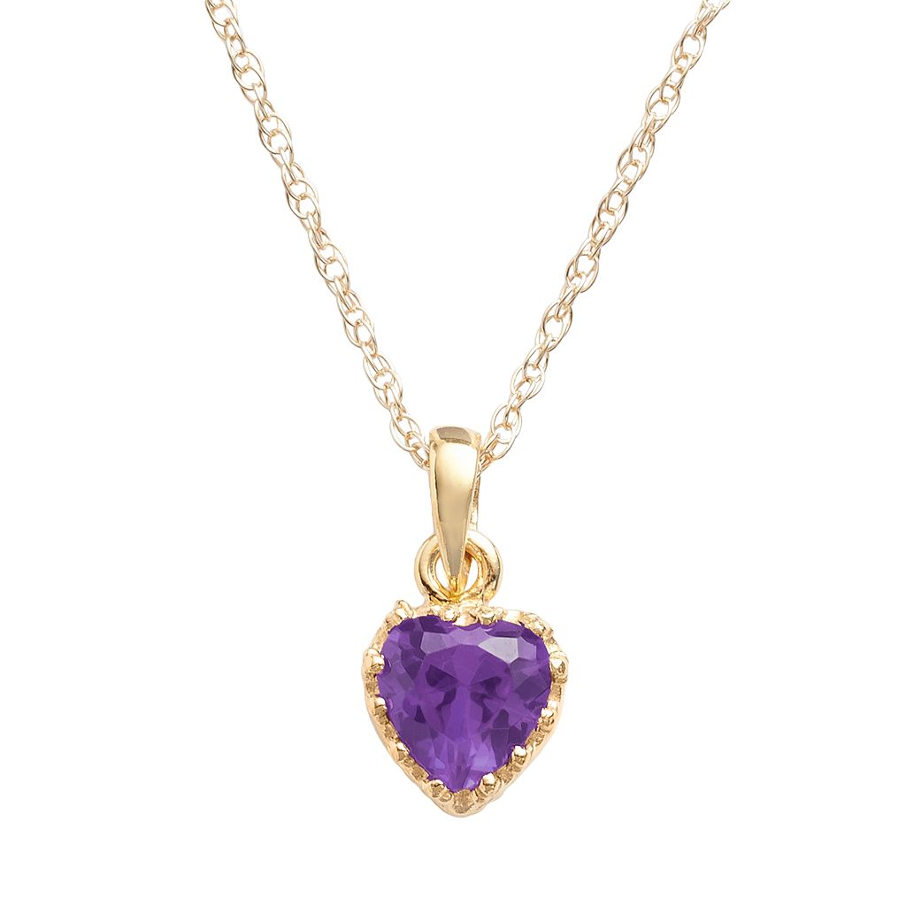 Tiara 14k Gold Over Silver Amethyst Heart Crown Pendant