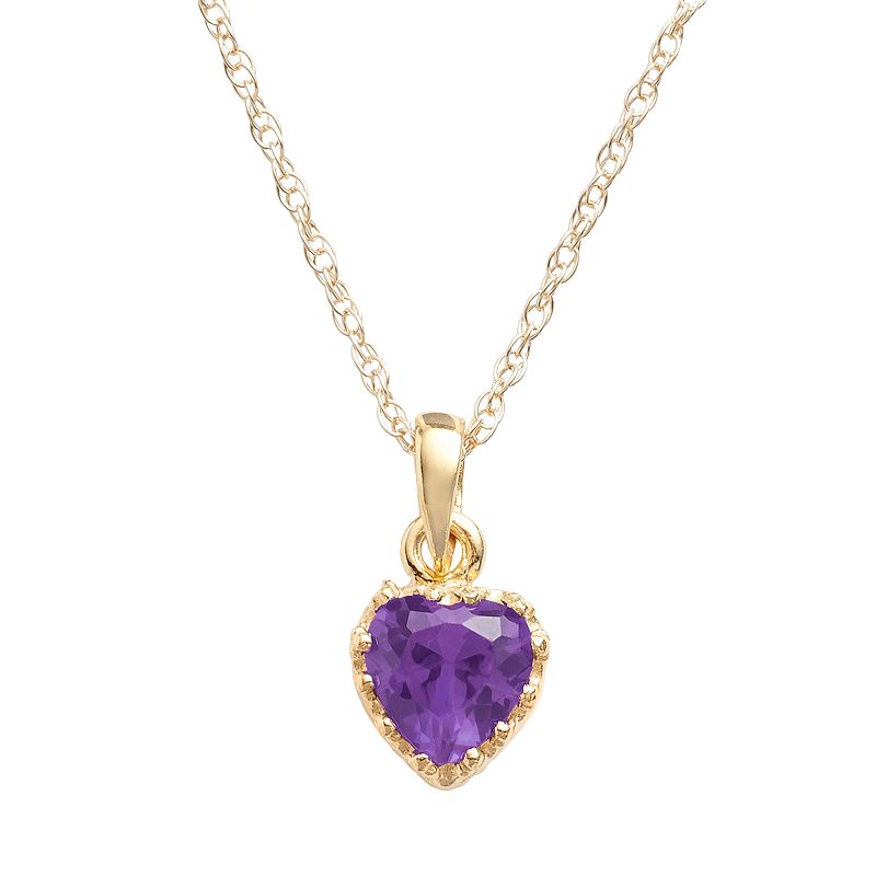 14k Gold Over Silver Amethyst Heart Crown Pendant