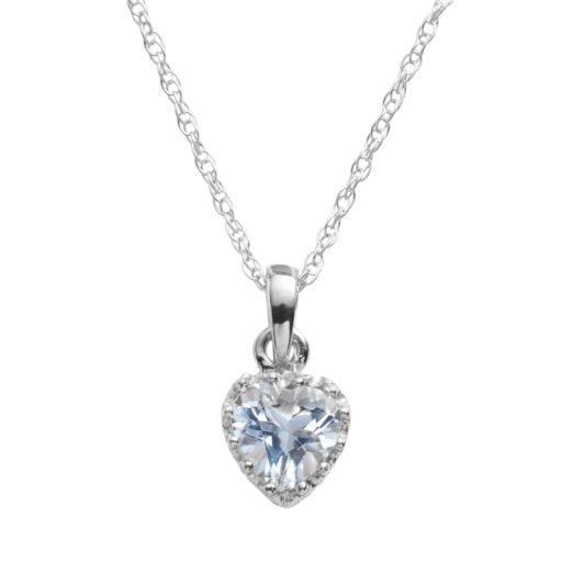 Tiara Sterling Silver Lab-Created Aquamarine Heart Crown Pendant