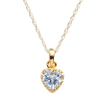 Tiara 14k Gold Over Silver Lab-Created Aquamarine Heart Crown Pendant