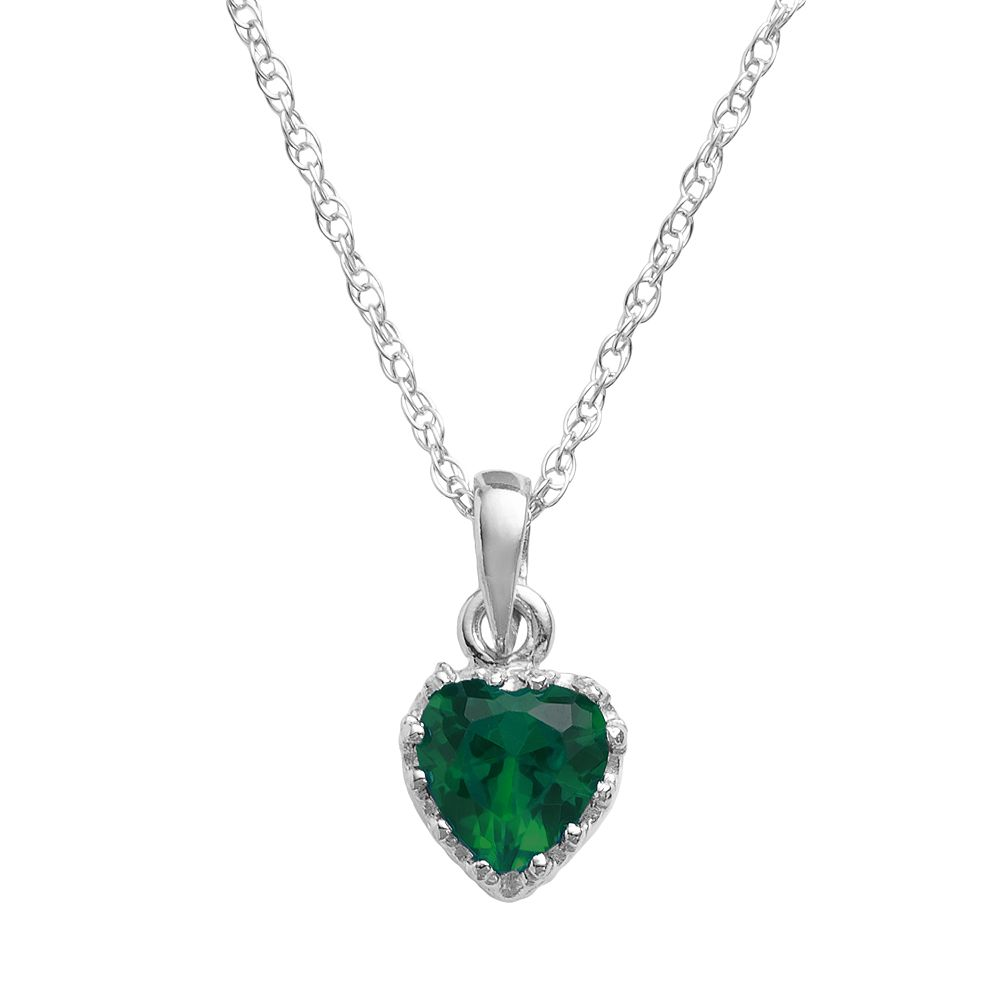 Tiara Sterling Silver Lab-Created Emerald Heart Crown Pendant