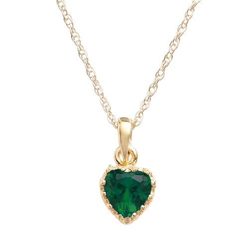 Tiara 14k Gold Over Silver Lab-Created Emerald Heart Crown Pendant