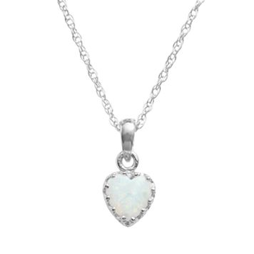 Tiara Sterling Silver Lab-Created Opal Heart Crown Pendant