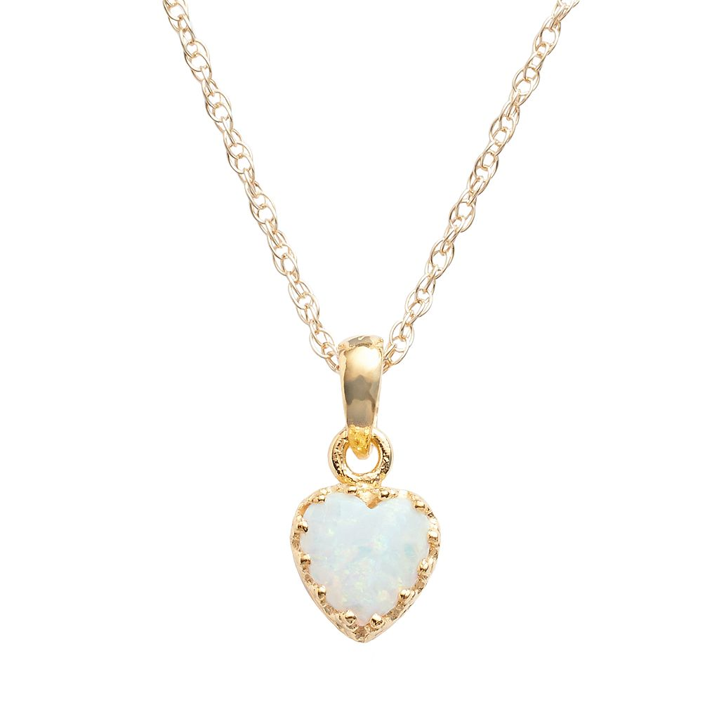 Tiara 14k Gold Over Silver Lab-Created Opal Heart Crown Pendant