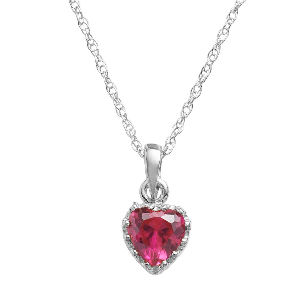 Tiara Sterling Silver Lab-Created Ruby Heart Crown Pendant