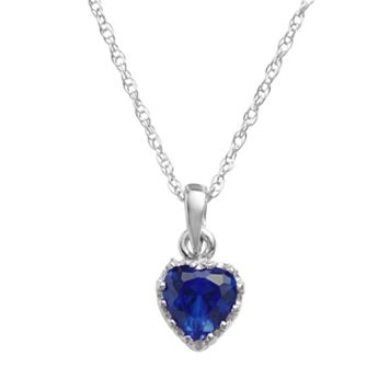 Tiara Sterling Silver Lab-Created Sapphire Heart Crown Pendant