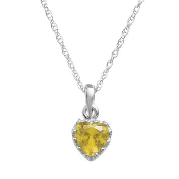 Tiara Sterling Silver Citrine Heart Crown Pendant