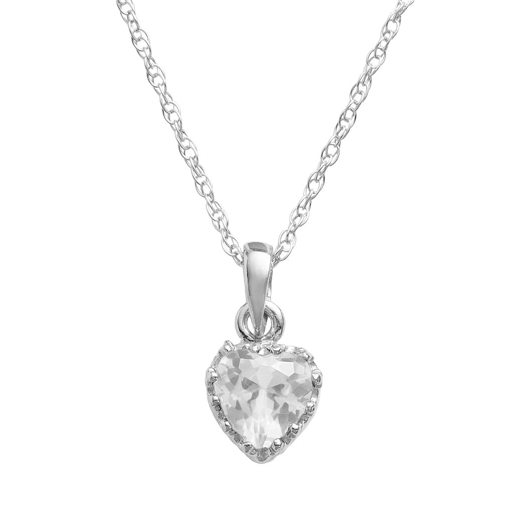 Tiara Sterling Silver Lab-Created White Sapphire Heart Crown Pendant