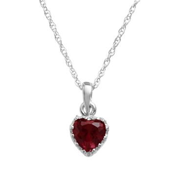 Tiara Sterling Silver Garnet Heart Crown Pendant