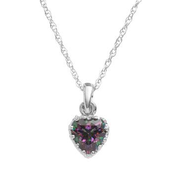 Tiara Sterling Silver Rainbow Quartz Heart Crown Pendant