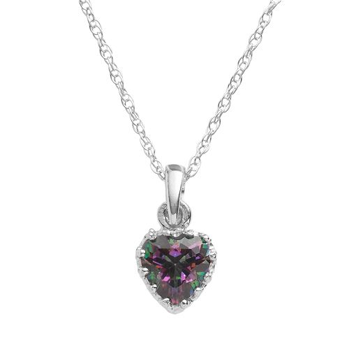 Tiara Sterling Silver Rainbow Quartz Heart Crown Pendant