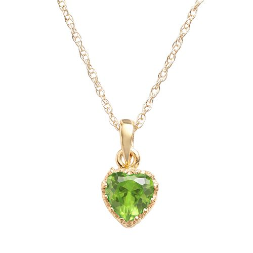 Tiara 14k Gold Over Silver Peridot Heart Crown Pendant