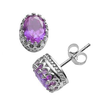 Tiara Sterling Silver Amethyst Oval Crown Stud Earrings