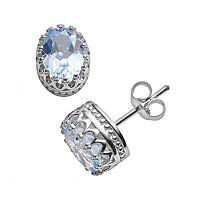 Tiara Sterling Silver Lab-Created Aquamarine Oval Crown Stud Earrings