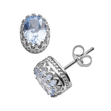 Tiara Sterling Silver Lab-Created Aquamarine Oval Crown Stud Earrings