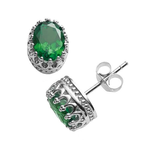 Tiara Sterling Silver Lab-Created Emerald Oval Crown Stud Earrings