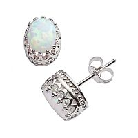 Tiara Sterling Silver Lab-Created Opal Oval Crown Stud Earrings
