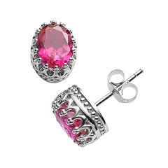 Tiara Sterling Silver Lab-Created Ruby Oval Crown Stud Earrings