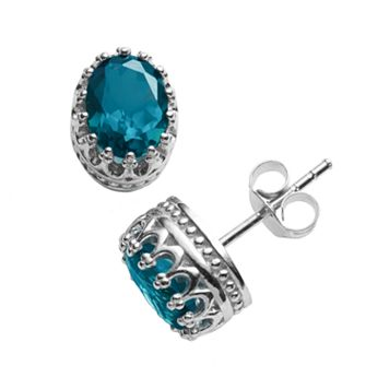 Tiara Sterling Silver Lab-Created Sapphire Oval Crown Stud Earrings