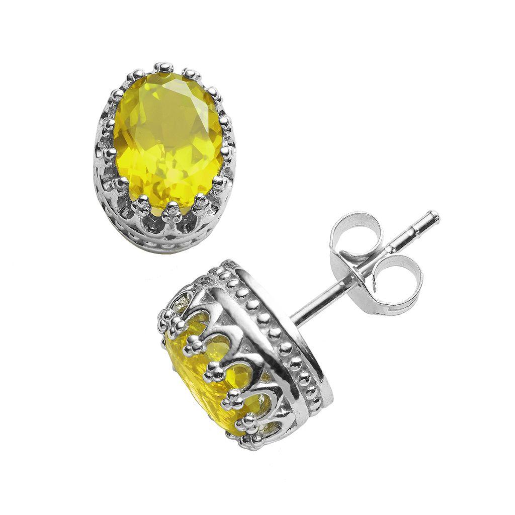 Tiara Sterling Silver Citrine Oval Crown Stud Earrings