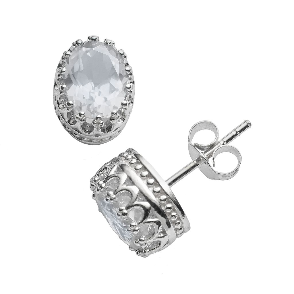Tiara Sterling Silver Lab-Created White Sapphire Oval Crown Stud Earrings