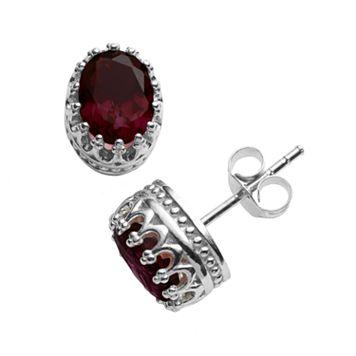 Tiara Sterling Silver Garnet Oval Crown Stud Earrings