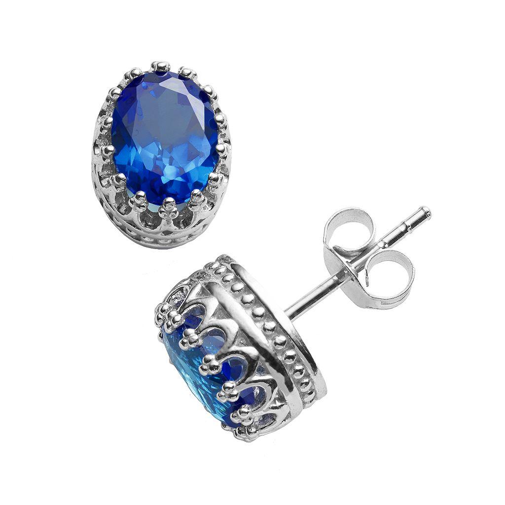 Tiara Sterling Silver London Blue Topaz Oval Crown Stud Earrings