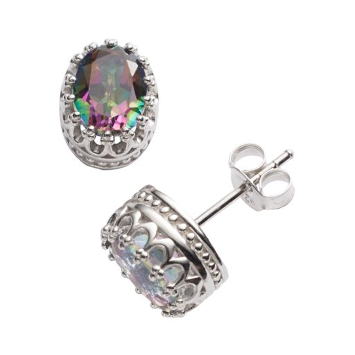 Tiara Sterling Silver Rainbow Quartz Oval Crown Stud Earrings