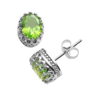 Tiara Sterling Silver Peridot Oval Crown Stud Earrings