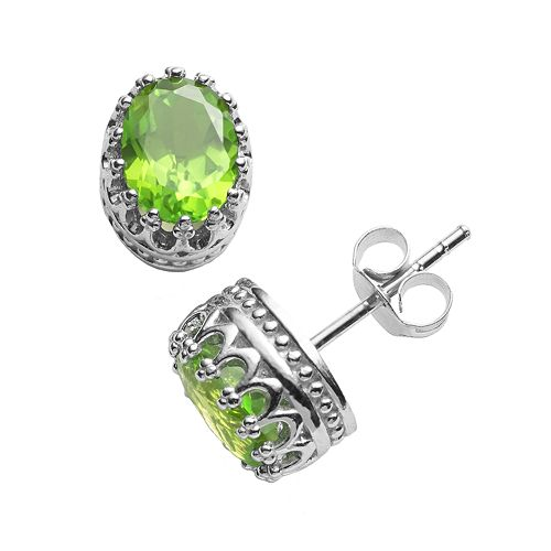 Tiara Sterling Silver Peridot Oval Crown Stud Earrings