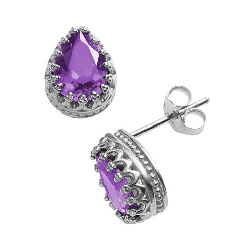 Tiara Sterling Silver Amethyst Crown Stud Earrings